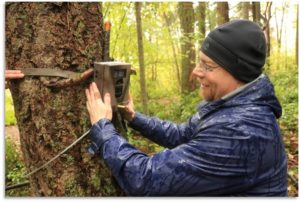 Man installs camera trap in woods.