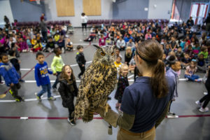 zookeeper with owl at assembly