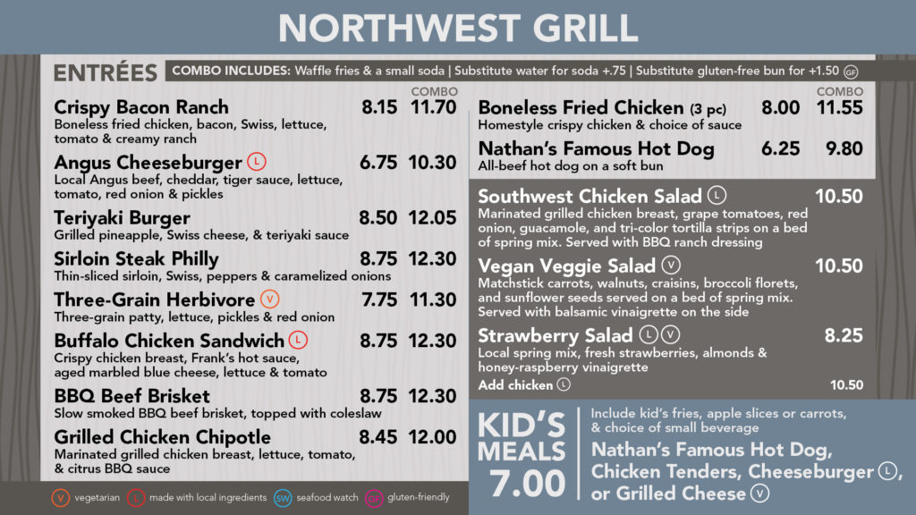 northwest grill entree menu