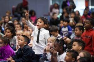 boy in assembly