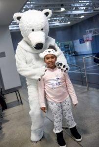 girl and polar bear mascot