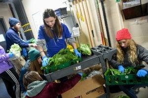 girls sort lettuce