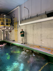 man standing in aquarium