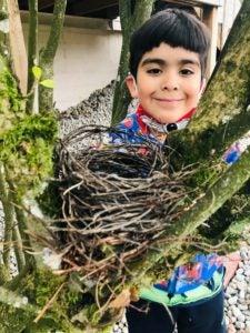 boy with nest