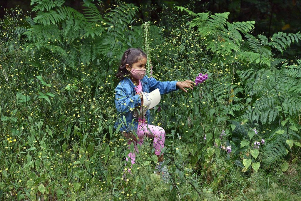girl exploring trail